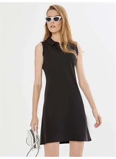 Xint XINT Polo Yaka Kolsuz Pamuklu Basic Elbise Siyah